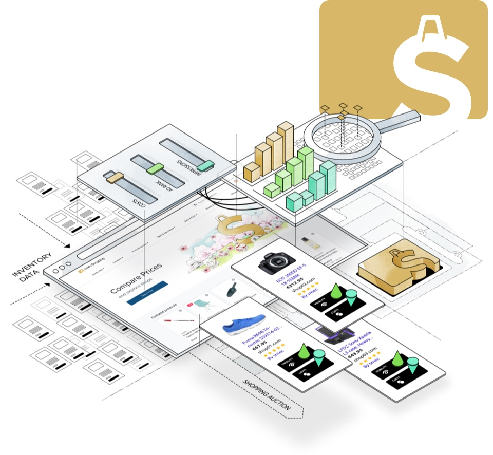 Illustration of smec Shopping - Premium Comparison Shopping Service (CSS) for Google Shopping Ads